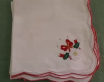 Vintage Napkins White Cotton Blend with Red Edges and Christmas Detail 8 Napkins