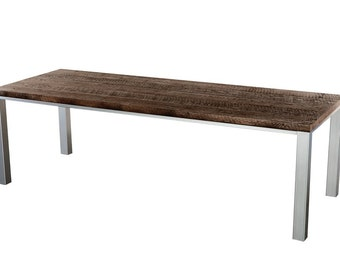 "The ""Calvin"" Reclaimed Oak Top Steel Base Dining Table Custom Sizes Available"