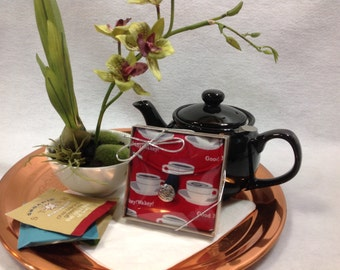 Tea Bag Travel Wallet - Good Morning - Cups on Red, Morning Tea, Free Shipping - USA, Ships Worldwide