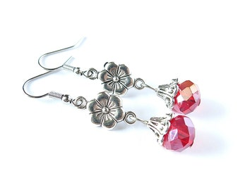 Red Crystal and Flower Dangle Earrings
