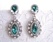 Clear Rhinestone Wedding Green Earrings Emerald Earrings Dangle Bridal Evening Earrings Art Deco Earrings Silver Woman Jewelry Accessory