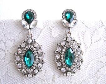 Clear Rhinestone Wedding Green Earrings Emerald Earrings Dangle Bridal Evening Earrings Art Deco Earrings Silver Woman Jewelry Accessory