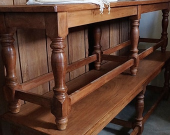 Teak Bench / Traditional Hallway Bench / Shipping Included