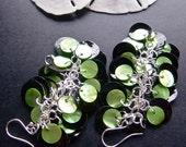 Cluster Earrings, Sea Shell Jewelry, Black and Lime Green Earrings, Dangle Earings, Mussel Shell Earrings, Bohemian Style, Festival Jewelry