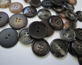 Black and Brown 42 Vintage Quality Plastic Buttons Vintage Buttons Sewing Supplies Notions Accessories Buttons Lot OC #12