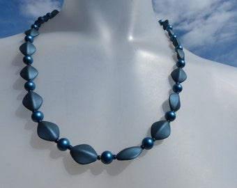 Midnight blue handmade beaded necklace/Oval beaded necklace/ Round blue beaded necklace/Modern Classic beaded necklace/