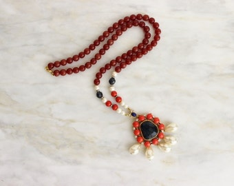 90s Gerard Yosca Pendant Necklace Pearl Coral Orange Lapis Blue Boho