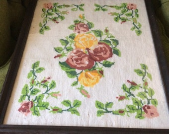 Needlepoint Embroidery Floral  Display Glass Tray