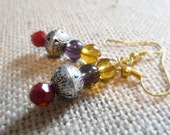 Bohemian Mixed Metals Earrings, Gold-Plated Ear Wires, Garnet, Amber, And Purple Glass Beads, Boho Jewelry, Lightweight Dangle Earrings