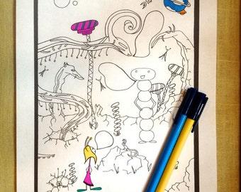 Kids Activity Printable Coloring Page Space Aliens Instant pdf Digital Download Original Art