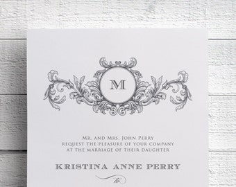 Vintage Wedding Invitation, Vintage Monogram, Monogram Wedding Invitation, Vintage Wreath, Wreath Monogram, Wedding Invite