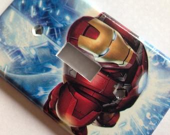 Iron Man Light Switch Cover / Iron Man Single Light Switch Plate / Comic Room Decor / Avengers Mancave Decor / Man Cave Decor / Comic Decor