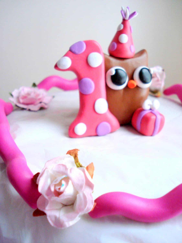 Girls First Birthday Owl Birthday Cake Topper Pink 1st Birthday Cake