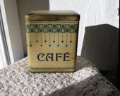 french Vintage tin, coffee container, cafe,  metal, breakfast, french writing, antique, home decoration, kitchen art, kitchenalia