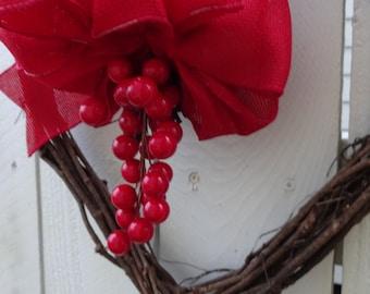 Wedding Wreath   Red Berry Wreath   Anniversary Wreath  Wedding Decor  Heart Wreath  Valentine Wreath