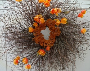 Japanese Lantern Wreath With Natural Twigs   Hand Crafted Wreath  Front Door Wreath  Twig Wreath