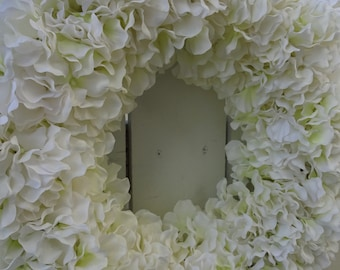 White Hydrangea Wreath  Wedding Wreath  Summer Wedding  White Hydrangea Wreath  Faux Hydrangeas  Elegant Wreath  Front Door Wreath