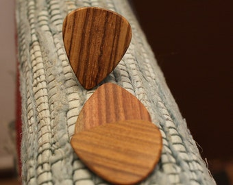 3 Wood guitar picks set Zebrawood, Rosewood & Lignum Vitae hand made ukulele