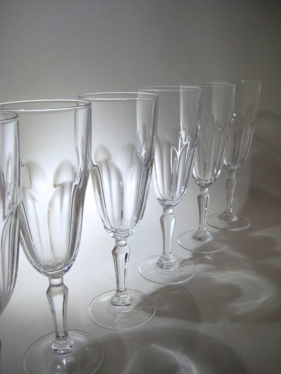 set of 6 cristal d 39 arques champagne flutes washington. Black Bedroom Furniture Sets. Home Design Ideas