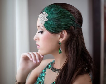1920s Wedding Headpiece, Art Deco Wedding Hairpiece, Emerald Green Headpiece, Great Gatsby Bachelorette Party, Flapper Headband