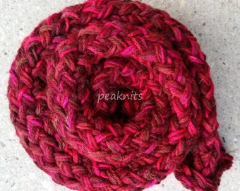 Scarf - Handknit Twisted and Garter Stitch ~ Wool and Acrylic ~ Shades of Red and Brown - Thick, Fall and Winter Wear