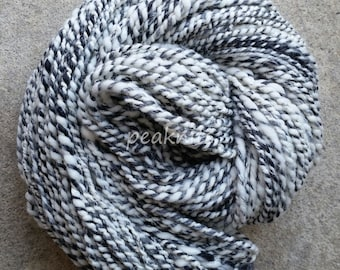 "Handspun Yarn, ""Smoke and Mirrors"", 8 wpi, 130 yards, Black and White Plied with Gold Thread, 3 Ply Wool - Hand Dyed Merino Wool"
