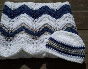gray blue chevron blanket, baby boy blanket, crochet baby blanket, baby boy crib blanket, grey blue blanket, crochet chevron baby blanket