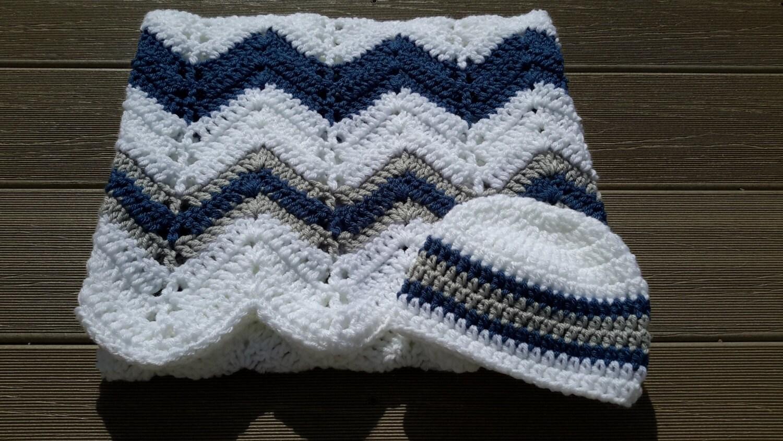 Gray Blue Chevron Blanket Baby Boy Blanket Crochet Baby