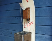 Vintage Wooden Lil Pro Water Skis Beer & Soda Coke Bottle Opener Station Coffee Trash of Recycled Found Object Furniture