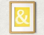 Ampersand DIY Digital Download Printable Art - 8x10 Mustard Yellow and White Monogram Wall Decor - Typography, Symbol Illustration