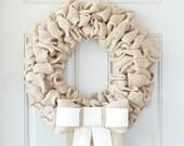 Front Door Year Round Wreath, Personalized Door Wreath, Burlap Bow Wreath - Interchangeable Bow