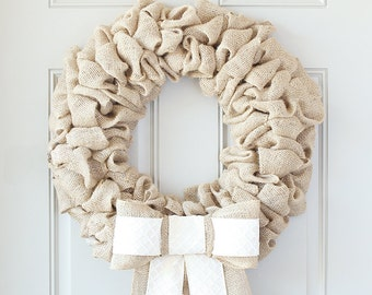 Farmhouse Chic Wreath For The Door, Front Door Decor, Coastal Wreath Burlap Home Summer Decor, Personalized Gifts For Mom, Fixer Upper Decor