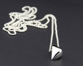 Wave Pendant Necklace: Sterling Silver
