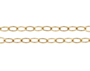 Extender Cable Chain 14kt Gold Filled 4x3mm Flat Cable Chain - 20ft (2336-20)