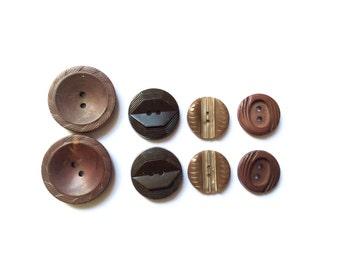 8 Vintage Buttons, Brown Mix Set Buttons