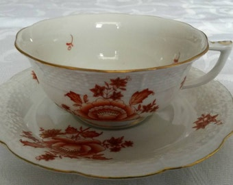 Herend Tea Cup and Saucer; From Hungary circa 1950's- to the present-  DR