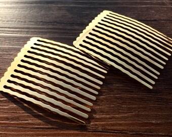 10pcs  38x50mm Gold  Color Metal Hair Comb