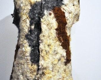SALE - Vest, felted, felt, wool, fibre art, gift, gray, ecru, white, curls, brown, size Medium