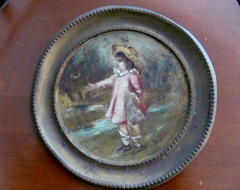 Hand painted on brass chimney cap, Small Victorian girl circa early 1900s