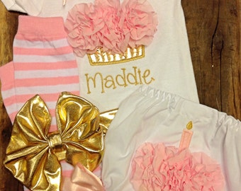 Personalized 1st Birthday Set - Cupcake Creeper, Cupcake Bloomers, Pink and Gold Birthday, 1st Birthday Set - Birthday bloomers - Cake Smash