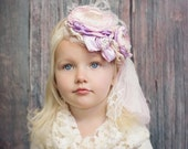 Baby Girl Flower Headband, Photography Prop, Lilac, Pink and Cream Flower Headband, Easter Headband, Couture Headband, Lace Headband, Kids
