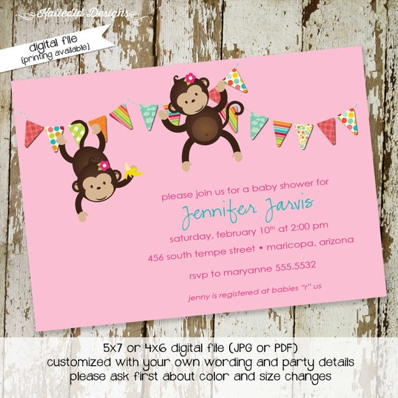 monkey baby shower invitation baby girl shower bunting banner hanging monkeys couples diaper christening (item 1322) shabby chic invitations