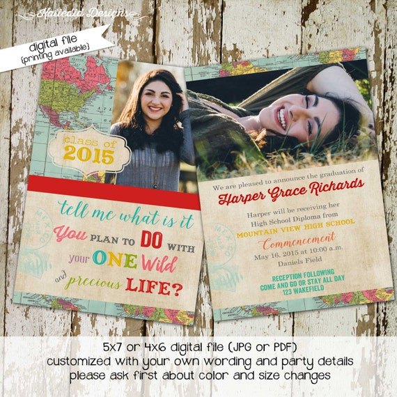 Graduation Announcement invitation party travel map invitation baptism oh the places grad wedding around the world shabby chic (item 606)