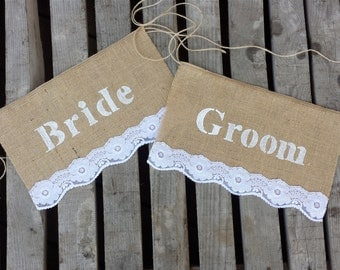 Burlap wedding chair sign, Mr and Mrs chair signs, wedding chair sign, burlap and lace chair sign