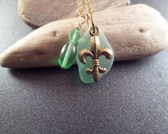 Fleur De Lis Necklace with Light Green Scottish Sea Glass in Gold, Beach Glass Jewelry from Scotland
