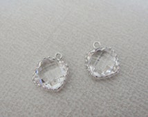 Jewelry Supplies, Silver plated Square Glass Drop Pendant, crystal clear framed Glass Stone charm, 9 mm, 2 pc