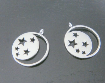 Moon Pendant, Matte Silver Crescent Moon and Stars Pendant, Charm,  Jewelry Findings, 2 pc, S815937