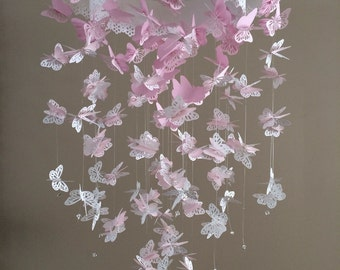Butterfly mobile, Baby lace pink mix size monacrh mobile, girl room mobile, nursery mobile, 3D baby girl mobile, photo prop