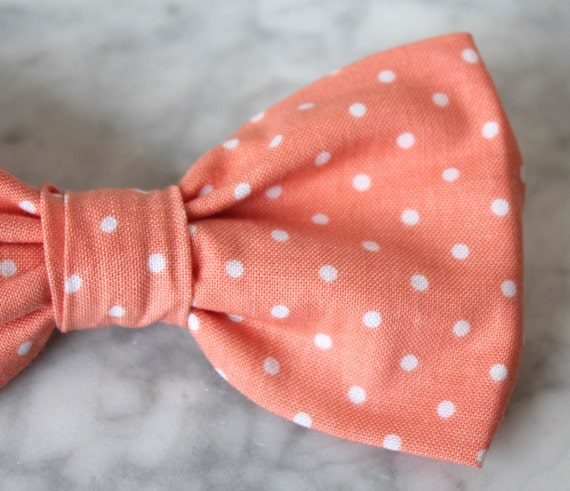 Pink Coral Polka Dot Bow tie - clip on, pre-tied with strap or self tying - ring bearer outfit or groomsmen attire