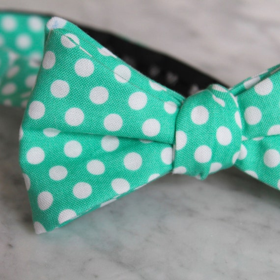 Dark Mint Green Polka Dot Bow Tie - Groomsmen and wedding tie - clip on, pre-tied with strap or self tying
